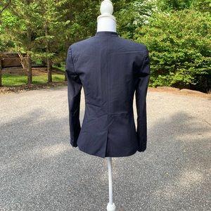 Collarless Navy Halogen One Button Blazer